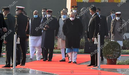 President Ram Nath Kovind, Prime Minister Narendra Modi, Defence Minister Rajnath Singh, Home Minster Amit Shah and others during a visit to the memorial to former prime minister Atal Bihari Vajpayee on his birth anniversary, at Sadaiv Atal on December 25, 2020 in New Delhi, India.