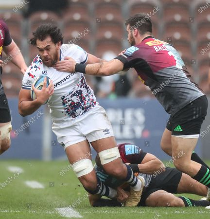 Stock Picture of Steven Luatua of Bristol Bears is tackled by Scott Baldwin of Harlequins