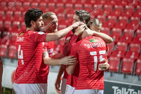 Goal 2-0 Salford city celebrates Salford City midfielder Luke Burgess (15)  scoring goal number two during the EFL Sky Bet League 2 match between Salford City and Walsall at the Peninsula Stadium, Salford