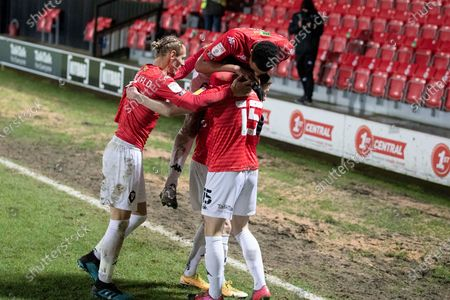 Goal 2-0 Salford City midfielder Luke Burgess (15) celebrate his goal with team-mates during the EFL Sky Bet League 2 match between Salford City and Walsall at the Peninsula Stadium, Salford