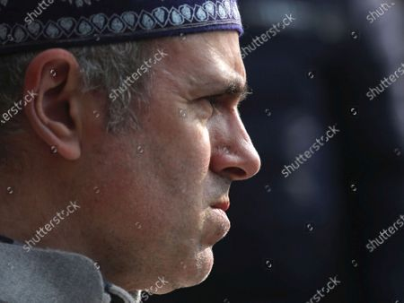National Conference (NC) vice-president and the former J&K chief minister Omar Abdullah addressing a press conference in Srinagar, the summer capital of Indian Kashmir, 26 December 2020. Abdullah alleged that the administration was using police to force the winning candidates of Peoples Alliance for Gupkar Declaration (PAGD) to join the Apni Party. Peoples Alliance for Gupkar Declaration (PAGD), an amalgam of different political parties of Jammu and Kashmir formed to restore the special status of the erstwhile state, won 109 out of a total 280 seats in the District Development Council (DDC) election.
