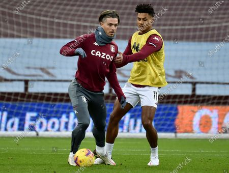 Jack Grealish (L) and Ollie Watkins (R) of Aston Villa warm up prior to the English Premier League soccer match between Aston Villa and Crystal Palace in Birmingham, Britain, 26 December 2020.