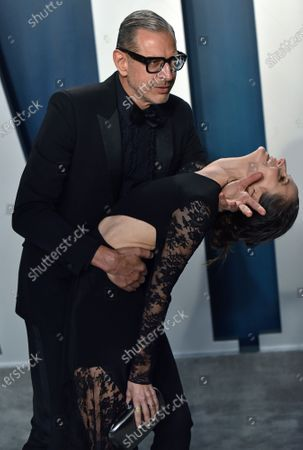Stock Photo of Jeff Goldblum (L) dips his wife Emilie Livingston as they arrive for the Vanity Fair Oscar party at the Wallis Annenberg Center for the Performing Arts in Beverly Hills, California, on February 9, 2020. Photo by Chris Chew/UPI