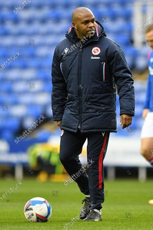 Reading coach Quinton Fortune during warm up before the EFL Sky Bet Championship match between Reading and Luton Town at the Madejski Stadium, Reading