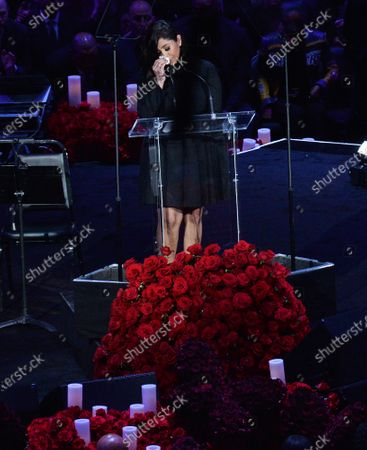 Vanessa Bryant is overcome with emotion and grief as she addresses family members, friends, and fans attending the Celebration of Life for Kobe and Gianna Bryant memorial ceremony at Staples Center in Los Angeles on Monday, February 24, 2020. Kobe Bryant and Gianna Bryant were killed along with seven other people in a helicopter crash in Calabasas on January 26. Photo by Jim Ruymen/UPI