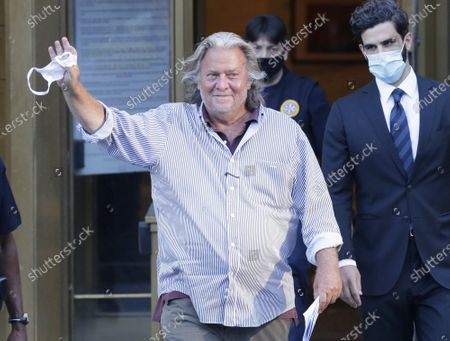 Former White House Chief Strategist to President Trump Steve Bannon waves and smiles as he exits Federal Court at 500 Pearl Street on Thursday, August 20, 2020 in New York City. A Judge set bail for Bannon that includes $5 million bond and was released today with conditions. Photo by John Angelillo/UPI