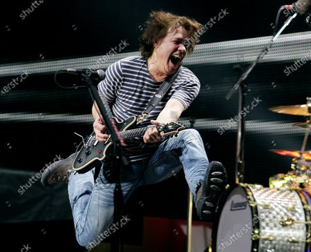 Eddie Van Halen and Van Halen perform at Madison Square Garden in New York City on March 1, 2012. The legendary hall of fame rock guitarist died on Tuesday at age 65 from throat cancer. Photo by John Angelillo/UPI