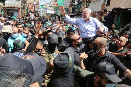 Hamas' political bureau chief Ismail Haniya (C) greets supporters during a visit to the Ain el-Helweh camp, Lebanon's largest Palestinian refugee camp, near the southern coastal city Sidon, on Sunday, September 6, 2020. photo by Muhammad Al-Ostad-Hamas/ UPI