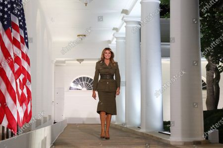 US First Lady Melania Trump walks down the Colonnade to deliver a speech during the second night of the Republican National Convention, in the Rose Garden at the White House in Washington, DC, on Tuesday, August 2020. Due to the coronavirus pandemic the Republican Party has moved to a televised format for its convention. Photo by Michael Reynolds/UPI