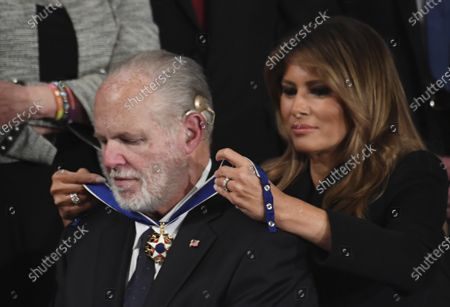 First Lady Melania Trump presents conservative commentator Rush Limbaugh with the Presidential Medal of Freedom as President Donald Trump delivers his State of the Union address to a joint session of Congress in the House Chamber of the U.S. Capitol in Washington, DC, on Tuesday, February 4, 2020. Photo by Pat Benic/UPI