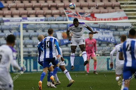 Shrewsbury Town's Aaron Pierre during the EFL Sky Bet League 1 match between Wigan Athletic and Shrewsbury Town at the DW Stadium, Wigan