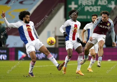 Jack Grealish (R) of Aston Villa in action against Jairo Riedewald (L) of Crystal Palace during the English Premier League soccer match between Aston Villa and Crystal Palace in Birmingham, Britain, 26 December 2020.