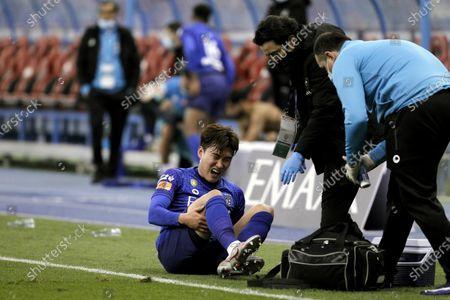 Al-Hilal's player Hyun Soo Jang reacts after suffering an injury during the Saudi Professional League soccer match between Al-Hilal and Al-Ittihad at King Fahd International Stadium, in Riyadh, Saudi Arabia, 26 December 2020.