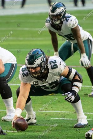 Philadelphia Eagles center Jason Kelce (62) prepares to snap the ball during an NFL football game against the Arizona Cardinals, in Glendale, Ariz