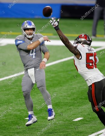 Detroit Lions quarterback Chase Daniel (4) is pressured by Tampa Bay Buccaneers outside linebacker Shaquil Barrett (58) during the first half of an NFL football game, in Detroit