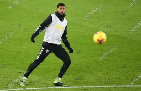 Rhian Brewster of Sheffield warms up prior to the English Premier League soccer match between Sheffield United and Everton FC in Sheffield, Britain, 26 December 2020.