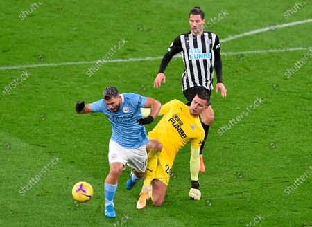 Stock Picture of Manchester City's Sergio Aguero (L) in action against Newcastle goalkeeper Karl Darlow (R) during the English Premier League soccer match between Manchester City and Newcastle United in Manchester, Britain, 26 December 2020.