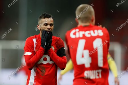 Standard's Mehdi Carcela reacts during a soccer match between Standard de Liege and Sint-Truiden VV, Saturday 26 December 2020 in Liege, on the nineteenth day of the 'Jupiler Pro League' first division of the Belgian championship.