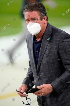 Stock Photo of Miami Dolphins legend Dan Marino is seen on the field during warmups prior to an NFL football game against the Las Vegas Raiders, in Las Vegas