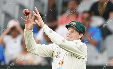 Stock Photo of Steven Smith of Australia drops a catch from Ajinkya Rahane of India during day two of the second Test Match between Australia and India at The MCG, Melbourne, Australia, 27 December 2020.