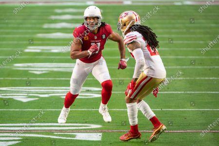Arizona Cardinals wide receiver Larry Fitzgerald (11) in action against San Francisco 49ers cornerback Jason Verrett (22) during an NFL football game, in Glendale, Ariz