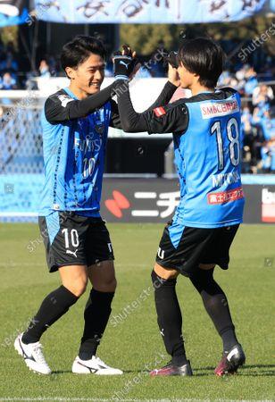 , Tokyo, Japan - Kawasaki Frontale forward Kaoru Mitoma (R) is celebrated from his teammate Ryota Oshima as he scores a goal against Akita  Blaubritz at the Emperor's Cup football tournament semi finals in Kawaski, suburban Tokyo on Sunday, December 27, 2020.