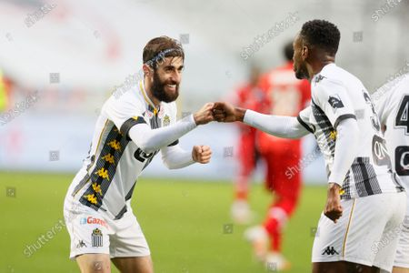 Stock Picture of Charleroi's Saido Berahino celebrates after scoring during a soccer match between Royal Antwerp FC and Sporting Charleroi, Sunday 27 December 2020 in Antwerp, on day 19 of the 'Jupiler Pro League' first division of the Belgian championship.