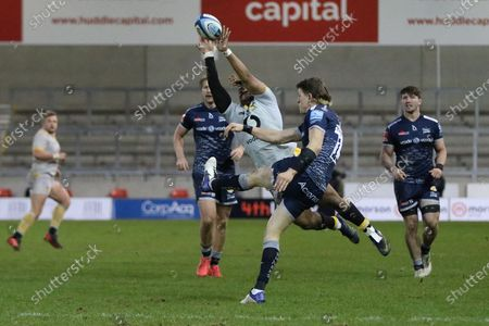 Sale Sharks Sam James kick charged down during the Gallagher Premiership Rugby match between Sale Sharks and Wasps at the AJ Bell Stadium, Eccles