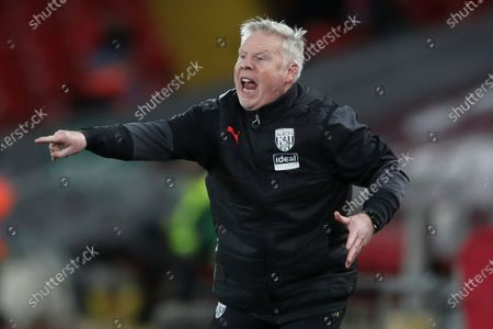 West Bromwich assistant coach Sammy Lee reacts during the English Premier League soccer match between Liverpool FC and West Bromwich Albion in Liverpool, Britain, 27 December 2020.