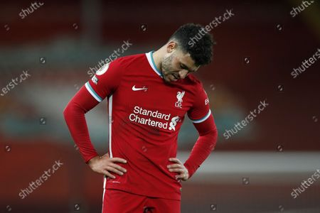 Liverpool's Alex Oxlade-Chamberlain reacts after the English Premier League soccer match between Liverpool FC and West Bromwich Albion in Liverpool, Britain, 27 December 2020.
