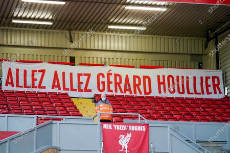 A general view of a banner in tribute to Gerard Houllier at Anfield before the Premier League match between Liverpool and West Bromwich Albion at Anfield, Liverpool