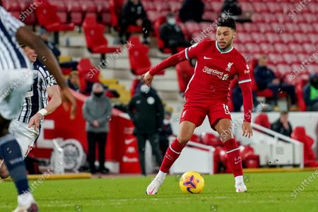 Liverpool midfielder Alex Oxlade-Chamberlain (15) in action during the Premier League match between Liverpool and West Bromwich Albion at Anfield, Liverpool