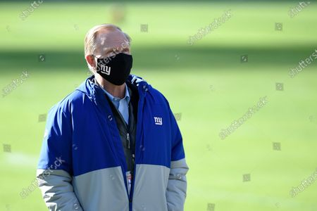 Stock Picture of New York Giants owner John Mara wears a face mask to protect against COVID-19 prior to an NFL football game against the Baltimore Ravens, in Baltimore
