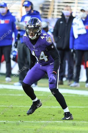 Baltimore Ravens cornerback Marlon Humphrey (44) in action during the first half of an NFL football game against the New York Giants, in Baltimore