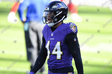 Stock Image of Baltimore Ravens cornerback Marlon Humphrey (44) looks on before an NFL football game against the New York Giants, in Baltimore