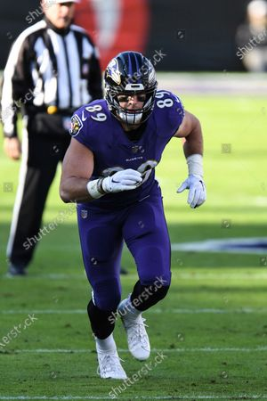 Baltimore Ravens tight end Mark Andrews (89) in action during the first half an NFL football game against the New York Giants, in Baltimore