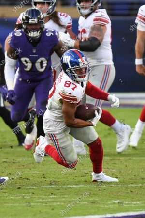 New York Giants wide receiver Sterling Shepard (87) in action during the second half of an NFL football game against the Baltimore Ravens, in Baltimore