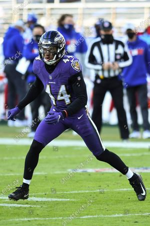 Stock Photo of Baltimore Ravens cornerback Marlon Humphrey (44) in action during the first half of an NFL football game against the New York Giants, in Baltimore