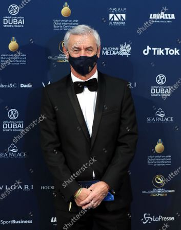 Stock Image of Former Liverpool player Ian Rush arrives to attend at the 2020 Dubai Football Gala & Globe Soccer Awards Ceremony as part of the Globe Soccer Conference during the 15th edition of Dubai International Sports Conference at Armani Luxury Hotel in Dubai, United Arab Emirates, 27 December 2020.
