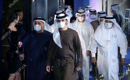 Stock Picture of Sheikh Mansour bin Mohammed bin Rashid Al Maktoum (C) arrives to attend at the 2020 Dubai Football Gala & Globe Soccer Awards Ceremony as part of the Globe Soccer Conference during the 15th edition of Dubai International Sports Conference at Armani Luxury Hotel in Dubai, United Arab Emirates, 27 December 2020.