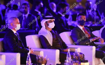 (L-R) FIFA President Gianni Infantino, Sheikh Mansour bin Mohammed bin Rashid Al Maktoum, and Cristiano Ronaldo of Juventus attend a session at the 2020 Dubai Football Gala & Globe Soccer Awards Ceremony as part of the Globe Soccer Conference during the 15th edition of Dubai International Sports Conference at Armani Luxury Hotel in Dubai, United Arab Emirates, 27 December 2020.