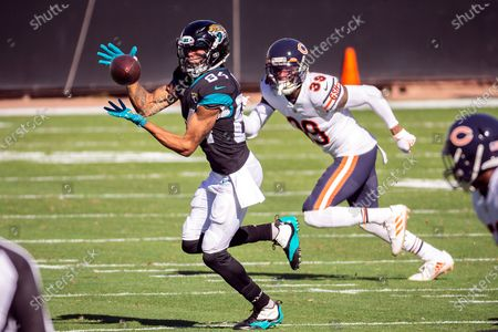 Jacksonville Jaguars wide receiver Keelan Cole Sr. (84) makes a reception in front of Chicago Bears safety Eddie Jackson (39) during the first half of an NFL football game, in Jacksonville, Fla