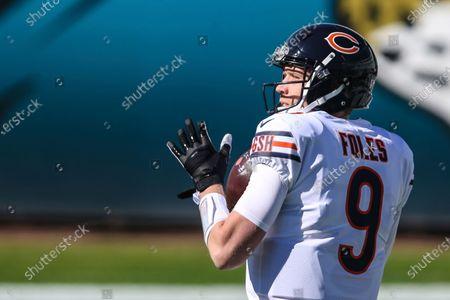 Chicago Bears quarterback Nick Foles (9) during warm-ups before an NFL football game against the Jacksonville Jaguars, in Jacksonville, Fla. Bears won 41-17