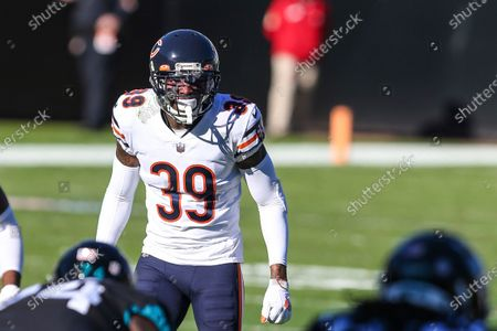 Chicago Bears safety Eddie Jackson (39) during the second half of an NFL football game against the Jacksonville Jaguars, in Jacksonville, Fla. Bears won 41-17