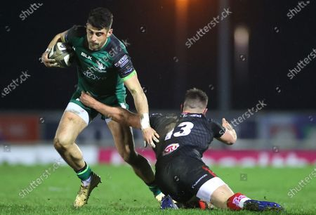 Stock Photo of Connacht vs Ulster. Connacht's Tiernan O'Halloran and James Hume of Ulster