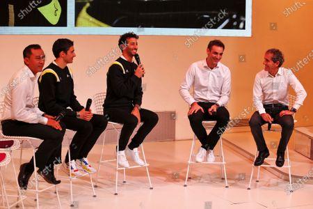 Stock Photo of (L to R): Mia Sharizman (MAL) Renault Sport Academy Director; Esteban Ocon (FRA) Renault F1 Team; Daniel Ricciardo (AUS) Renault F1 Team; Cyril Abiteboul (FRA) Renault Sport F1 Managing Director; Alain Prost (FRA) Renault F1 Team Non-Executive Director. Copyright: James Moy/XPB/Renault F1
