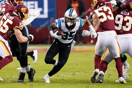 Stock Image of Carolina Panthers running back Rodney Smith (35) running with the ball during the first half of an NFL football game against the Washington Football Team, in Landover, Md