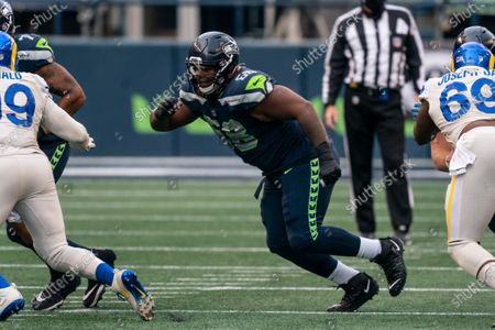 Seattle Seahawks offensive lineman Damien Lewis is pictured during the first half of an NFL football game against the Los Angeles Rams, in Seattle. The Seahawks won 20-9