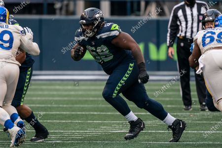 Stock Photo of Seattle Seahawks offensive lineman Damien Lewis is pictured during the first half of an NFL football game against the Los Angeles Rams, in Seattle. The Seahawks won 20-9