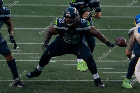 Stock Picture of Seattle Seahawks offensive lineman Damien Lewis is pictured during the second half of an NFL football game against the Los Angeles Rams, in Seattle. The Seahawks won 20-9